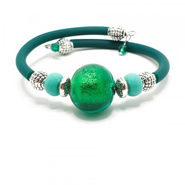 Bratara verde cu sticla de Murano